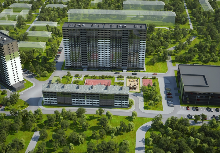 3D Визуализация панорамы микрорайона «Чистое Небо» г. Новосибирск